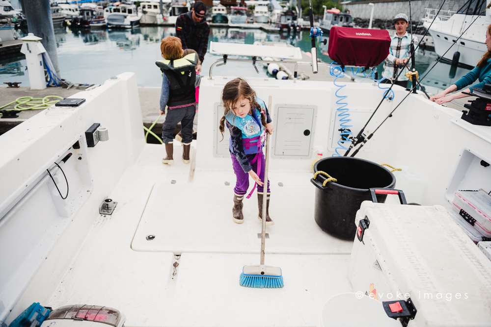 alaska boat life kids chores cleanup Whittier dock