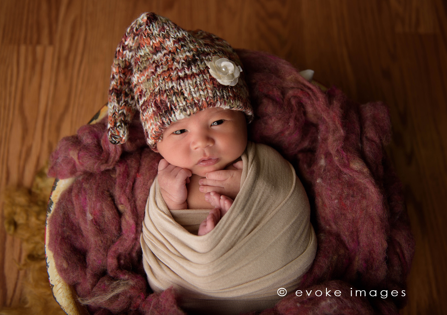 newborn baby in a basket anchorage Alaska photography